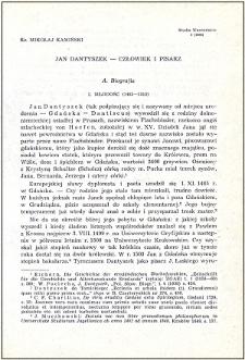 Jan Dantyszek - człowiek i pisarz