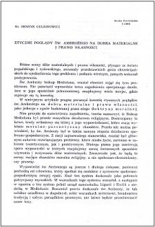 Etyczne poglądy św. Ambrożego na dobra materialne i prawo własności