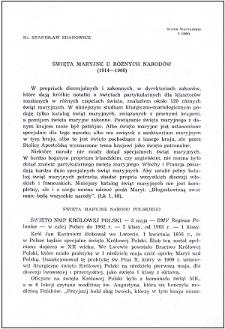Święta maryjne u różnych narodów (1914-1960)