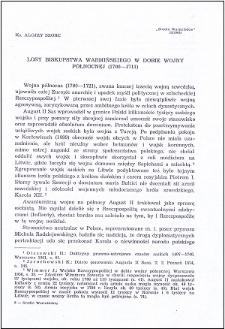 Losy biskupstwa warmińskiego w dobie wojny północnej (1700-1711)