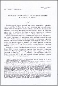 Przedmiot liturgicznego kult Matki Boskiej w Polsce XIII wieku