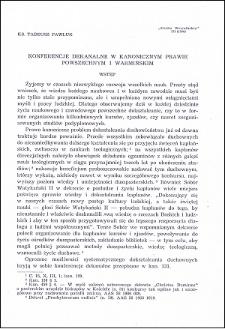 Konferencje dekanalne w kanonicznym prawie powszechnym i warmińskim