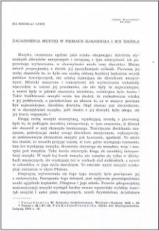 Zagadnienia muzyki w pismach Kasjodora i ich źródła