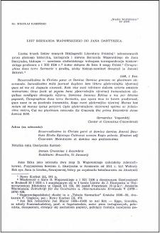 List Bernarda Wapowskiego do Jana Dantyszka