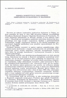 Geneza konstytucji hozjańskich Seminarium Duchownego w Braniewie