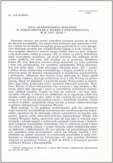Rola braniewskiego Hosianum w dziele zespolenia Warmii z Rzeczpospolitą w w. XVI-XVIII