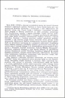 Fundacja biskupa Teodora Potockiego : dom dla konwertytów w Braniewie 1722-1945