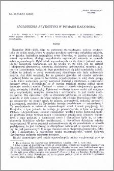 Zagadnienia arytmetyki w pismach Kasjodora