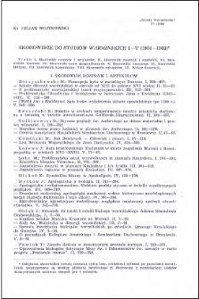 """Skorowidze do """"Studiów Warmińskich"""" I-V (1964-1968)"""