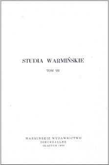 Studia Warmińskie T. 7 (1970) - cały numer