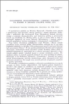 Zagadnienie duszpasterstwa ludności polskiej na Warmii w drugiej połowie wieku XVI : szczególne zasługi Stanisława Hozjusza na tym polu