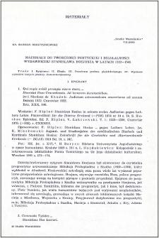 Materiały do twórczości poetyckiej i działalności wydawniczej Stanisława Hozjusza w latach 1522-1548