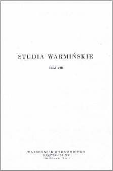 Studia Warmińskie T. 8 (1971) - cały numer