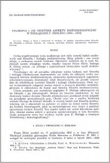 Filozofia i jej niektóre aspekty historiograficzne w poglądach F. Ehrlego (1845-1934)