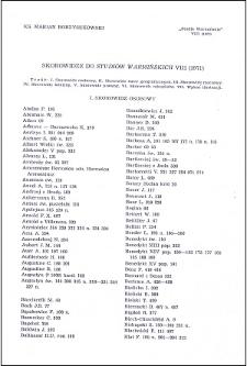 """Skorowidze do """"Studiów Warmińskich"""" 8 (1971)"""
