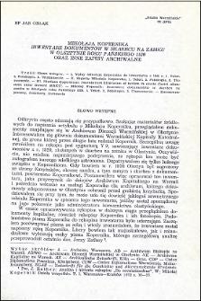 """Mikołaja Kopernika """"Inwentarz dokumentów w skarbcu na zamku w Olsztynie roku Pańskiego 1520"""" oraz inne zapisy archiwalne"""