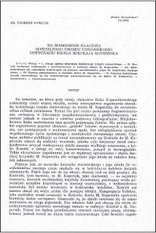 Na marginesie klauzuli kościelnego Urzędu Cenzorskiego dotyczącej dzieła Mikołaja Kopernika