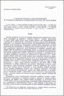 Z dziejów recepcji heliocentryzmu w polskich szkołach katolickich od XVI do XVIII wieku