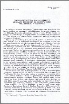 Osiemnastowieczna kopia portretu Mikołaja Kopernika ze zbiorów Domu Jana Matejki w Krakowie