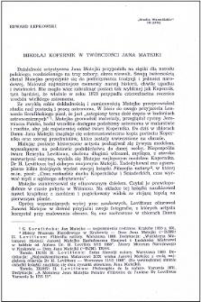 Mikołaj Kopernik w twórczości Jana Matejki