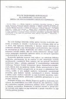 """Wpływ środowiska kościelnego na powstanie i ukazanie się dzieła """"De revolutionibus"""" Mikołaja Kopernika"""
