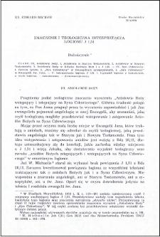 Znaczenie i teologiczna interpretacja logionu J 1,51 : dokończenie