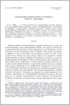 Zagadnienie niewolnictwa w świetle pism św. Hieronima
