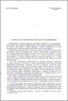Kapitulacje wyborcze biskupów warmińskich