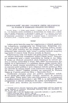 Regionalność melodii polskich pieśni religijnych na Warmii w pierwszej połowie XIX wieku