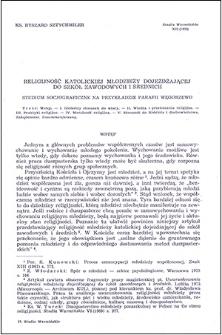 Religijność katolickiej młodzieży dojeżdżającej do szkół zawodowych i średnich : studium socjograficzne na przykładzie parafii Węgorzewo