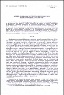 Model kapłana w świetle dokumentów Soboru Watykańskiego II