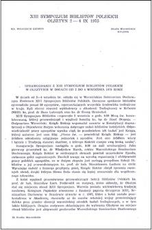 Sprawozdanie z XIII Sympozjum Biblistów Polskich w Olsztynie w dniach od 2 do 4 września 1975 roku