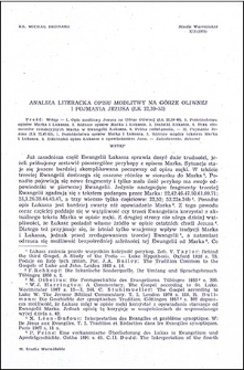 Analiza literacka, opisu modlitwy na Górze Oliwnej i pojmania Jezusa (Łk 22,39-53)