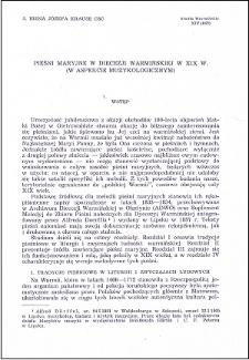 Pieśni maryjne w Diecezji Warmińskiej w XIX wieku : (w aspekcie muzykologicznym)