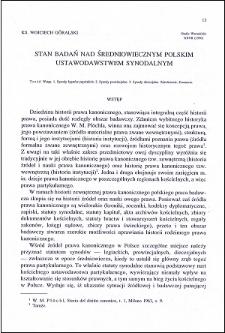 Stan badań nad średniowiecznym polskim ustawodawstwem synodalnym