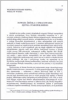 Nowsze źródła i opracowania języka staropolskiego
