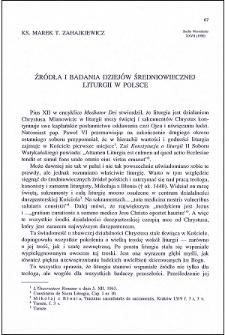 Źródła i badania dziejów średniowiecznej liturgii w Polsce