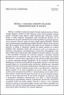 Źródła i badania dziejów filozofii średniowiecznej w Polsce