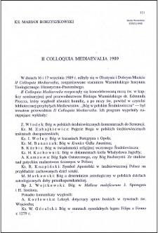 II Colloquia Mesiaevalia 1989