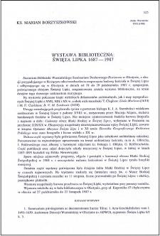 Wystawa biblioteczna : Święta Lipka 1687-1987