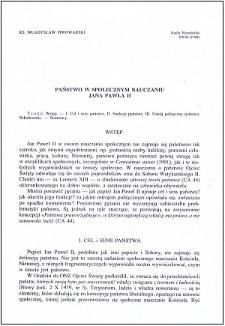Państwo w społecznym nauczaniu Jana Pawła II