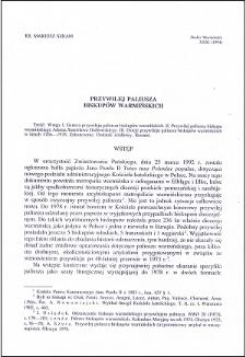 Przywilej paliusza biskupów warmińskich