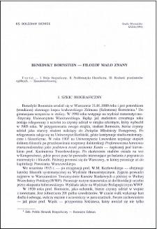 Benedykt Bornstein : filozof mało znany