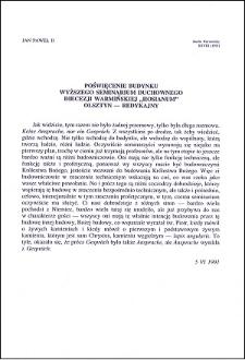 Poświęcenie budynku Wyższego Seminarium Duchownego diecezji warmińskiej, Olsztyn-Redykajny