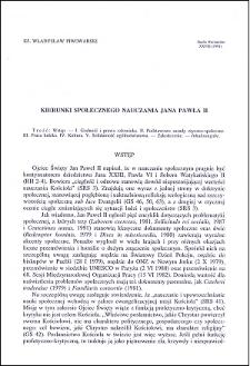 Kierunki społecznego nauczania Jana Pawła II
