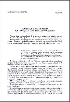 Publikacje z okazji wizyty Ojca Świętego Jana Pawła II w Olsztynie