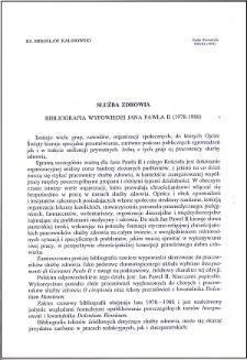 Służba zdrowia : bibliografia wypowiedzi Jana Pawła II (1978-1988)