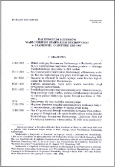 Kalendarium budynków Warmińskiego Seminarium Duchownego w Braniewie i Olsztynie 1565-1961