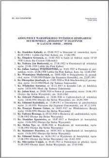 """Absolwenci Warmińskiego Wyższego Seminarium Duchownego """"Hosianum"""" w Olsztynie w latach 1949/50-1993"""
