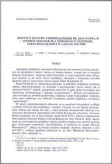 Instytut Kultury Chrześcijańskiej im. Jana Pawła II - Studium Teologii dla Świeckich w Olsztynie : zarys działalności w latach 1979-1990